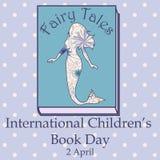 Ημέρα βιβλίων παιδιών με τον τρύγο γοργόνων ελεύθερη απεικόνιση δικαιώματος