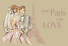 Ημέρα γάμου στο Παρίσι κοντά στον πύργο του Άιφελ Διανυσματική απεικόνιση