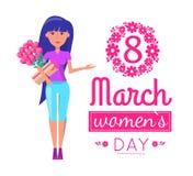 Ημέρα γυναικών σε 8 της ευχετήριας κάρτας Μαρτίου με το κορίτσι απεικόνιση αποθεμάτων