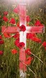 Ημέρα ενθύμησης - ξύλινος σταυρός με τις παπαρούνες και barb το καλώδιο Στοκ Εικόνες