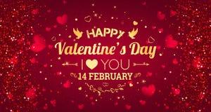 ημέρα καρτών που χαιρετά τους ευτυχείς βαλεντίνους σας αγαπώ Στις 14 Φεβρουαρίου Υπόβαθρο διακοπών με τις καρδιές, φως, αστέρια ε διανυσματική απεικόνιση