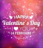 ημέρα καρτών που χαιρετά τους ευτυχείς βαλεντίνους σας αγαπώ Στις 14 Φεβρουαρίου Υπόβαθρο διακοπών με τις καρδιές, φως, αστέρια ε απεικόνιση αποθεμάτων