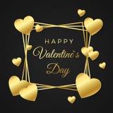 ημέρα καρτών που χαιρετά τους ευτυχείς βαλεντίνους Χρυσά καρδιά και πλαίσιο με το κείμενο στο άσπρο υπόβαθρο Έννοια για το έμβλημ διανυσματική απεικόνιση