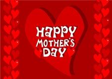 Ημέρα μητέρων - κόκκινες καρδιές Στοκ Εικόνες