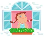 Ημέρα μικρών κοριτσιών που ονειρεύεται στο παράθυρο Στοκ Φωτογραφία