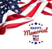 Ημέρα μνήμης κειμένων στο υπόβαθρο αμερικανικών σημαιών στοκ φωτογραφίες
