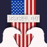 Ημέρα μνήμης στις Ηνωμένες Πολιτείες Διανυσματικό σχεδιάγραμμα για τις ευχετήριες κάρτες, εμβλήματα, αφίσες απεικόνιση αποθεμάτων