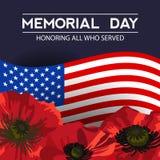 Ημέρα μνήμης στις Ηνωμένες Πολιτείες Διανυσματικό σχεδιάγραμμα για τις ευχετήριες κάρτες, εμβλήματα, αφίσες διανυσματική απεικόνιση