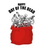 ημέρα νεκρή Σκελετοί στο σάκο Κρανίο στην τσάντα Λογότυπο για το natio Στοκ εικόνα με δικαίωμα ελεύθερης χρήσης