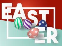 ημέρα Πάσχα ευτυχές τρισδιάστατα αυγά Πάσχας με το σχέδιο τάσης background colors holiday red yellow επίσης corel σύρετε το διάνυ Στοκ εικόνα με δικαίωμα ελεύθερης χρήσης