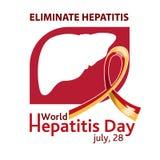 Ημέρα παγκόσμιας ηπατίτιδας 28 Ιουλίου Κίτρινος-κόκκινη κορδέλλα διανυσματικό λευκό καρ&chi διανυσματική απεικόνιση