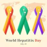 Ημέρα παγκόσμιας ηπατίτιδας Σύνολο ζωηρόχρωμων κορδελλών συνειδητοποίησης που απομονώνεται πέρα από τον παγκόσμιο χάρτη στο ύφος  Στοκ Εικόνες