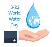 Ημέρα παγκόσμιου νερού με την πτώση εκμετάλλευσης χεριών Στοκ Εικόνα