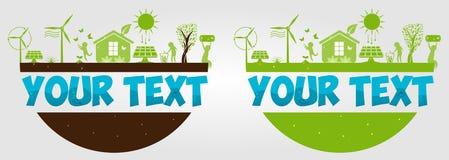 Ημέρα παγκόσμιου περιβάλλοντος r r Φιλικές προς το περιβάλλον ιδέες έννοιας Εναλλακτική ενέργεια ήλιων Δύναμη Eco Ανεμοστρόβιλος  διανυσματική απεικόνιση