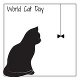 Ημέρα παγκόσμιων γατών Η σκιαγραφία μιας γάτας Στοκ φωτογραφία με δικαίωμα ελεύθερης χρήσης