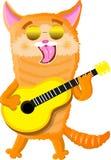Ημέρα παγκόσμιων γατών που παίζει την κιθάρα διανυσματική απεικόνιση