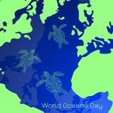 Ημέρα παγκόσμιων ωκεανών Μέρος της γήινης επιφάνειας είναι ο ωκεανός, ήπειροι, νησιά Κολύμβηση χελωνών θάλασσας απεικόνιση αποθεμάτων