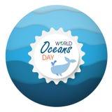 Ημέρα παγκόσμιων ωκεανών διανυσματική απεικόνιση