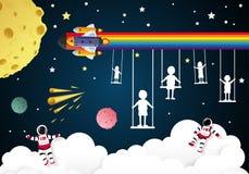 ημέρα παιδιών για τα παιδιά που παίζουν στο διάστημα Στοκ φωτογραφίες με δικαίωμα ελεύθερης χρήσης
