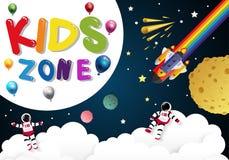 ημέρα παιδιών για τα παιδιά που παίζουν στο διάστημα Στοκ Εικόνα