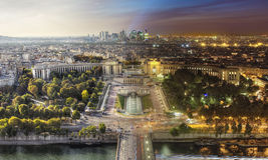 Ημέρα στην άποψη νύχτας του Παρισιού από τον πύργο του Άιφελ Στοκ Εικόνες