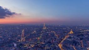Ημέρα στη μετάβαση νύχτας του Παρισιού σε 9 δευτερόλεπτα απόθεμα βίντεο