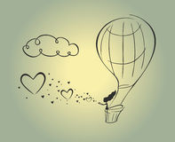 Ημέρα σύννεφων καρδιών κοριτσιών μπαλονιών αέρα Στοκ φωτογραφία με δικαίωμα ελεύθερης χρήσης
