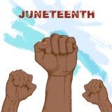Ημέρα της ανεξαρτησίας αφροαμερικάνων, στις 19 Ιουνίου Ημέρα ελευθερίας και απελευθέρωσης Χέρια επάνω ενάντια στον ουρανό Συρμένη διανυσματική απεικόνιση
