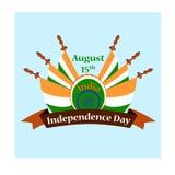 Ημέρα της ανεξαρτησίας της Ινδίας, απεικόνιση με τις εθνικές σημαίες Στοκ φωτογραφίες με δικαίωμα ελεύθερης χρήσης