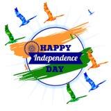 Ημέρα της ανεξαρτησίας της Ινδίας Εθνική σημαία tricolor της Ινδίας Ashoka Chakra επίσης corel σύρετε το διάνυσμα απεικόνισης ελεύθερη απεικόνιση δικαιώματος