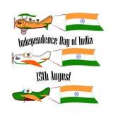 Ημέρα της ανεξαρτησίας της Ινδίας, που τίθεται με τρία αεροπλάνα Στοκ εικόνα με δικαίωμα ελεύθερης χρήσης