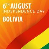 Ημέρα της ανεξαρτησίας της Βολιβίας Σημαία και πατριωτικό έμβλημα επίσης corel σύρετε το διάνυσμα απεικόνισης Στοκ Φωτογραφία