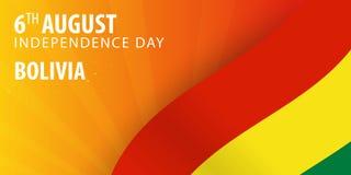 Ημέρα της ανεξαρτησίας της Βολιβίας Σημαία και πατριωτικό έμβλημα επίσης corel σύρετε το διάνυσμα απεικόνισης Στοκ Εικόνες
