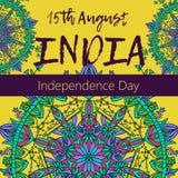 Ημέρα της ανεξαρτησίας της Ινδίας 15ος του Αυγούστου με το mandala Ασιατικό σχέδιο, απεικόνιση Ισλάμ, αραβικό ινδικό τουρκικό μοτ Στοκ Φωτογραφία
