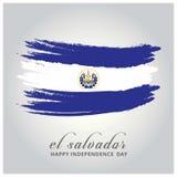 Ημέρα της ανεξαρτησίας του Ελ Σαλβαδόρ Σημαία που χρωματίζεται με μια βούρτσα με το pai Στοκ εικόνες με δικαίωμα ελεύθερης χρήσης