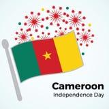 Ημέρα της ανεξαρτησίας του Καμερούν Διανυσματική απεικόνιση με τη σημαία και Στοκ φωτογραφία με δικαίωμα ελεύθερης χρήσης