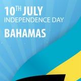 Ημέρα της ανεξαρτησίας των Μπαχαμών Σημαία και πατριωτικό έμβλημα επίσης corel σύρετε το διάνυσμα απεικόνισης Στοκ Φωτογραφία