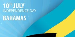 Ημέρα της ανεξαρτησίας των Μπαχαμών Σημαία και πατριωτικό έμβλημα επίσης corel σύρετε το διάνυσμα απεικόνισης Στοκ Εικόνες