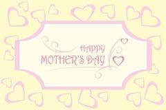 Ημέρα της ευτυχούς μητέρας ευχετήριων καρτών Ρόδινη δακτυλογράφηση στο ελαφρύ υπόβαθρο, καρδιές σε ανοικτό κίτρινο Στοκ Φωτογραφίες
