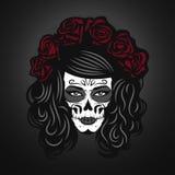 Ημέρα της νεκρής απεικόνισης γυναικών με το πρόσωπο κρανίων ζάχαρης Στοκ Εικόνα