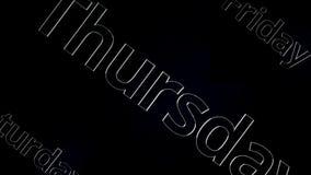 Ημέρα της Πέμπτης εβδομάδας από τα κεφαλαία γράμματα του γκρίζου χρώματος, τρισδιάστατα Πέμπτη λέξης που κινείται στο μαύρο και γ διανυσματική απεικόνιση