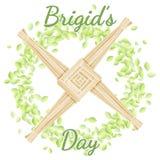Ημέρα της Brigid Αρχή των ειδωλολατρικών διακοπών άνοιξη Σταυρός της Brigid σε ένα στεφάνι των πράσινων φύλλων ελεύθερη απεικόνιση δικαιώματος