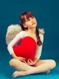 Ημέρα του βαλεντίνου αγγέλου κοριτσιών αναδρομική Στοκ Εικόνα