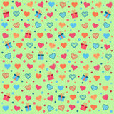 Ημέρα του βαλεντίνου υποβάθρου με τις καρδιές, τα δώρα και τα λουλούδια Στοκ εικόνα με δικαίωμα ελεύθερης χρήσης