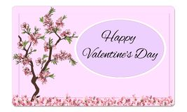 Ημέρα του διανυσματικού όμορφου λουλουδιών βαλεντίνου καρτών ευτυχούς διανυσματική απεικόνιση