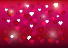 Ημέρα του ευτυχούς βαλεντίνου ευχετήριων καρτών σε ένα φωτεινό κόκκινο υπόβαθρο διανυσματική απεικόνιση