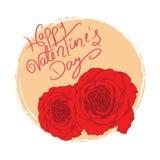 Ημέρα του ευτυχούς βαλεντίνου με τα φρέσκα κόκκινα τριαντάφυλλα Στοκ Εικόνες