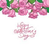 Ημέρα του ευτυχούς βαλεντίνου με το σύνολο ρόδινων τριαντάφυλλων Στοκ Φωτογραφίες