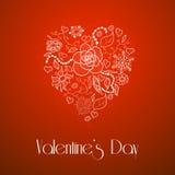 Ημέρα του ευτυχούς βαλεντίνου, floral καρδιά doodle Στοκ φωτογραφίες με δικαίωμα ελεύθερης χρήσης