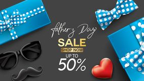 Ημέρα του ευτυχούς πατέρα, δημιουργική αφίσα προώθησης πώλησης ή σχέδιο προτύπων αγορών εμβλημάτων με 50% από τις προσφορές τρισδ